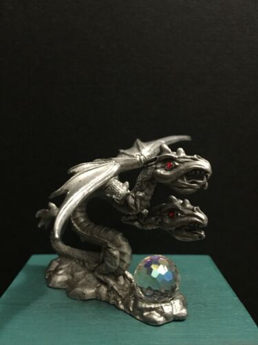 Spoontiques Pewter Metal 2 Headed Dragon Crystal Red Jewels Miniature Figurine