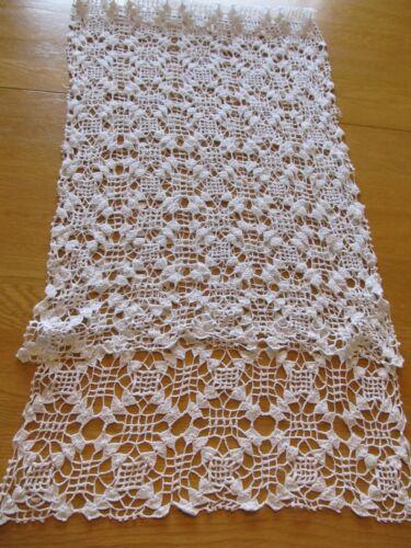 """Vintage Long White Crochet Dresser Scarf 15"""" W x 50"""" L"""