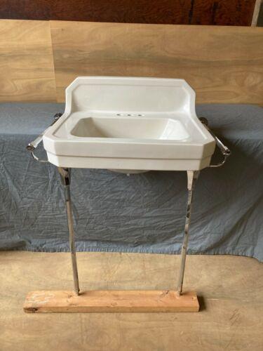 Vtg Ceramic White Bath Sink Chrome Brass Legs Towel Bars Old Standard 703-20E