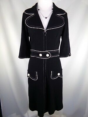 YOANA BARASCHI Black Short Sleeve Zip Up Buttons V-Neck Coat Sheath Dress Size 4