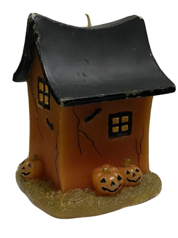 Halloween Wax Candle Haunted House And Pumpkins Decoration Unused