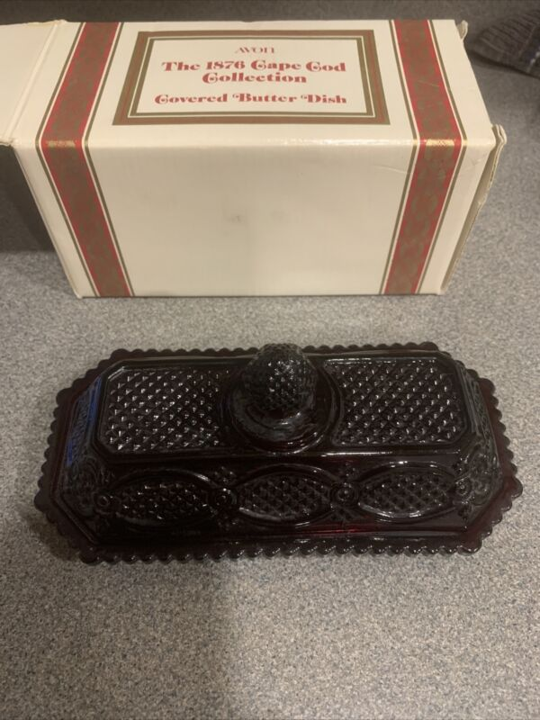 Vintage Avon 1876 Cape Cod Ruby Red Glass Covered Butter Dish with original box