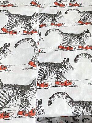 "Vintage B Kliban CAT ""SNEAKER CAT"" TWIN Sheet SET - Burlington USA 1980s"