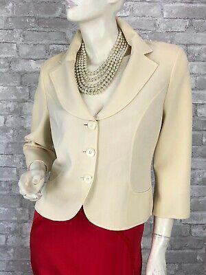 Michael Kors Cream Stretch Wool Blazer Jacket Coat 8 US 44 IT M Runway Auth