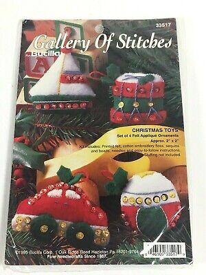 Bucilla 1995 Jeweled Christmas Toys Set of 4 Felt Applique Ornaments Kit 33517