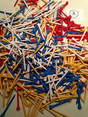 "100 JL Golf mixed wooden tees 69 / 70mm long (2 3/4"") *NEW* Xmas gift  fathers"