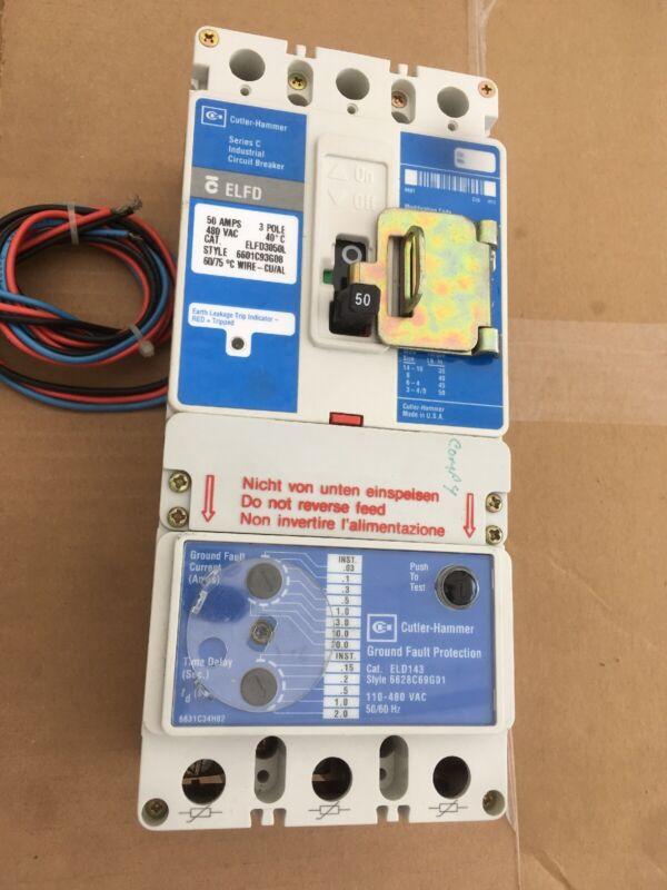 Cutler-Hammer ELFD3050L 50 Amp 480 Volt 3 Pole Earth Leakage Circuit Breaker