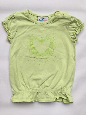 Mädchen-hellgrün (T-Shirts, Mädchen, hellgrün, orange, Herz, Gr. 74)