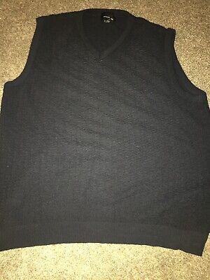 Men's XL sweater vest Navy Blue V Neck by Bill Blass Preowned