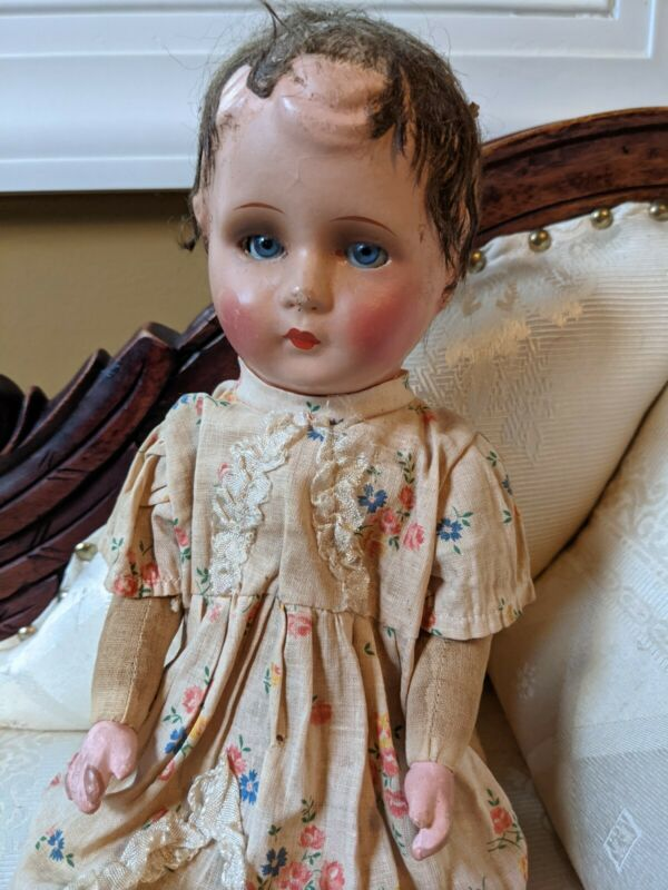 """1940 German Paper Mache Jointed Doll With Glass Eyes 14.5"""""""