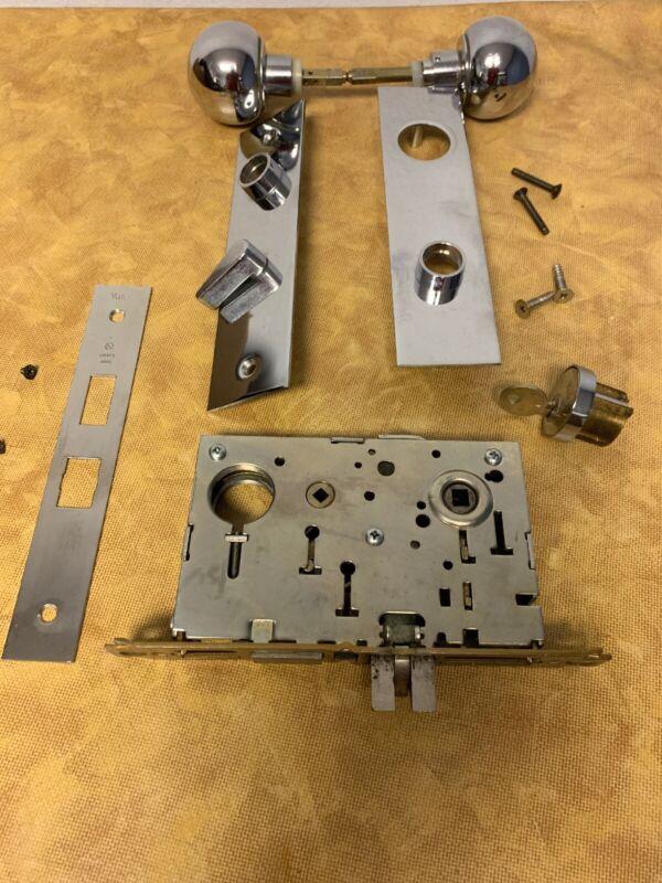 Vintage Yale 8722 Series Mortise Heavy Duty Industrial Lockset Brass Deadbolt LH