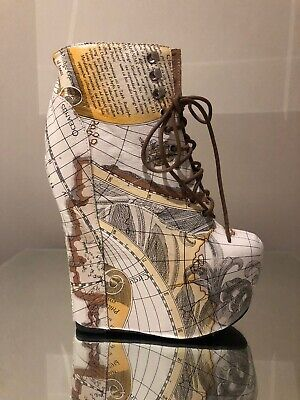 Jeffrey Campbell Damsel Charted Maps Brand New Boots US 7, Eu 37, UK 4 RRP £195