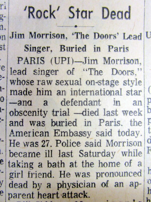 1971 newspaper ANNOUNCING THE DEATH of JIM MORRISON lead singer of THE DOORS