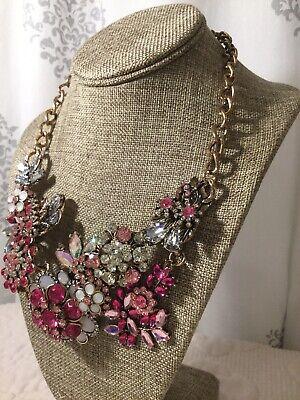 Unique Pink Crystal Bib Statement Necklace Womens Rhinestone Crystal Bib Statement Necklace