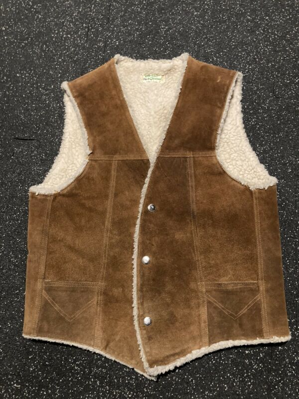 Vintage Sherpa Fleece Lined Brown Leather Vest Small