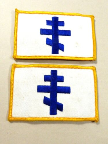 VTG set of 2 white & blue Cross embroidery Shoulder Patch