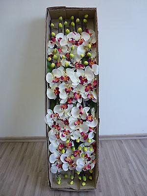 12 x Orchidee 12tlg. Set Seidenblume Kunstpflanze weiß-pink 200642-WOC F3