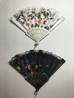 2 PC LACE HAND HELD FOLDING FAN WITH BUTTERFLY PATTERN 6 DIFFERENT COLORS