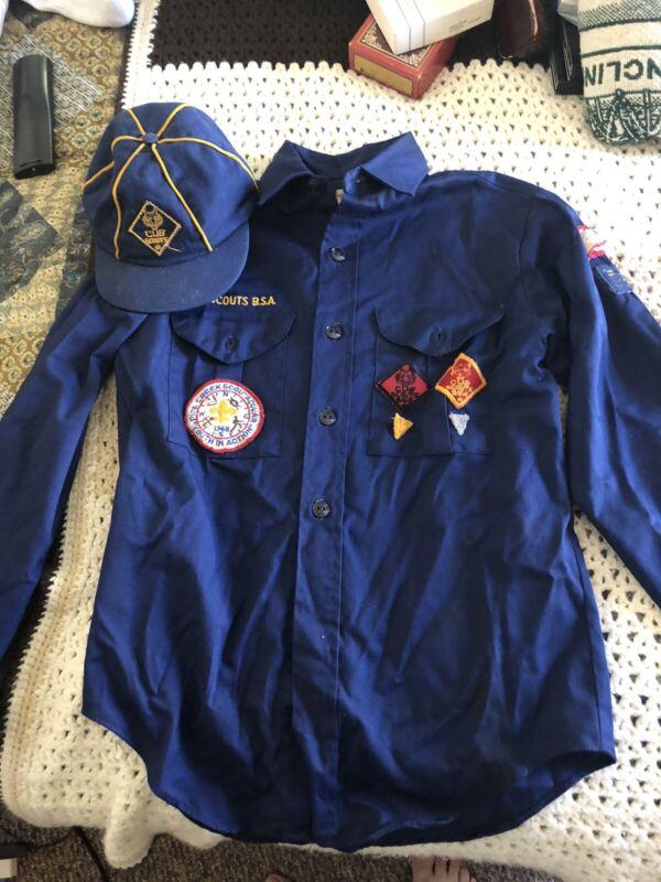Vintage 1960s Cub Scout Uniform Neckerchief Slide And Cap