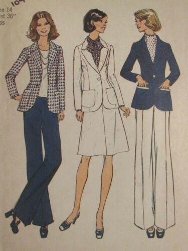 VTG 74 SIMPLICITY 6803 Misses Unlined Suit/Jacket Skirt & Pants PATTERN 14/36B