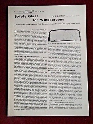 SAFETY GLASS for WINDSCREENS - 1961 -  Official Reprint from Automobile Engineer