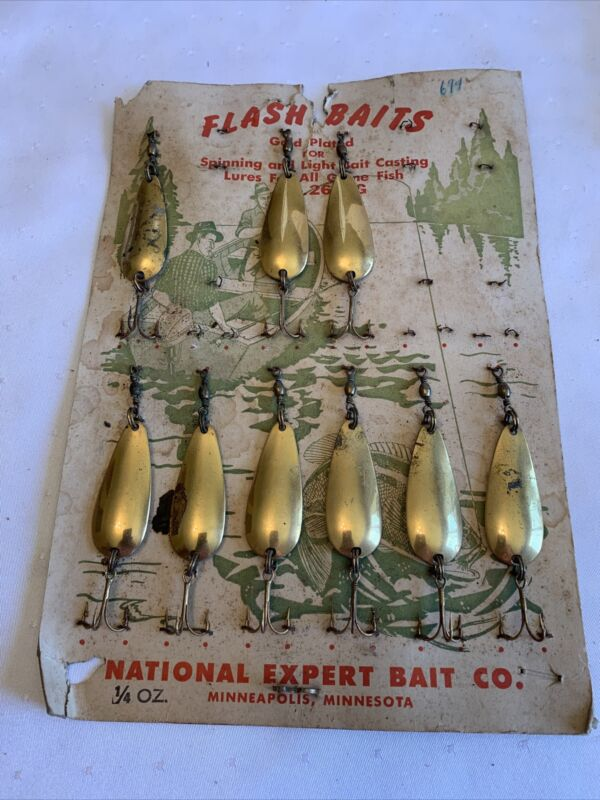 Vintage NATIONAL EXPERT BAIT CO Cardboard Sales Display Spin Cast SPOONS Lures