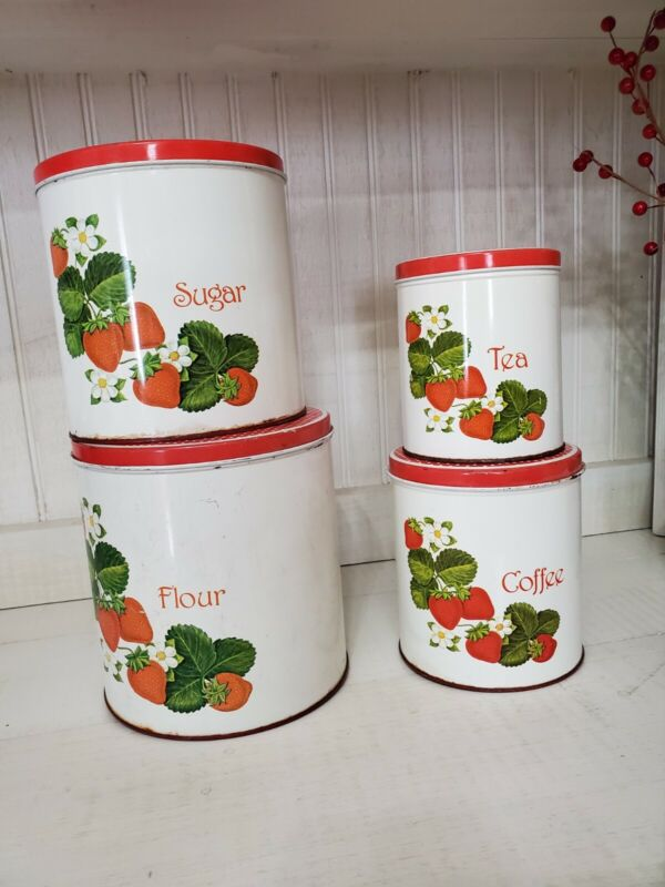 Vintage Kitchen Canisters Red Strawberries & Polka Dot Lids 1950s Full Set Of 4
