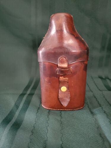 """Vintage Glass Flask with ELM Leather Case Chrome Metal Cap 8""""T"""