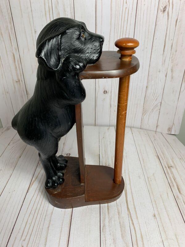 ADORABLE Vintage Black Lab Labrador Puppy Papertowel Holder
