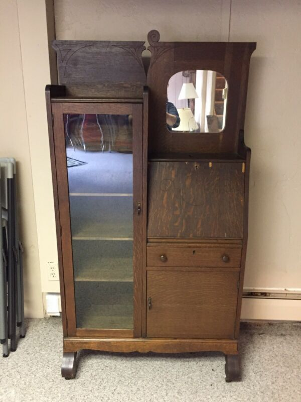 Antique Side By Side Secretary Desk With Bookcase