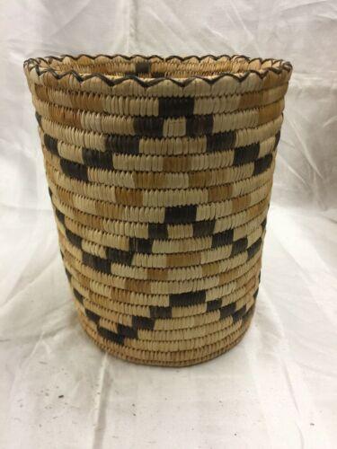 "Vintage Papago Cylinder Basket 10""x9"""