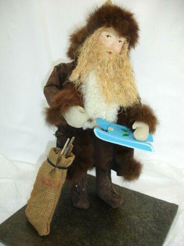 Santa, Handcrafted, Primitive, Brown Leather with Fur Trim, Burlap Bag