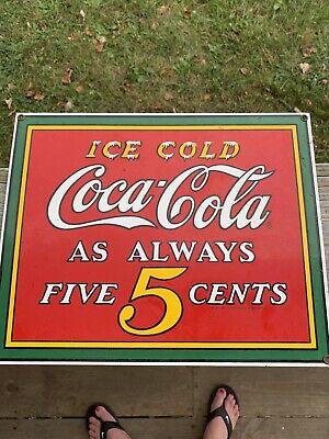 Vintage Coca-Cola Metal sign.Porcelain enamel ice cold 5 cent by Ande.