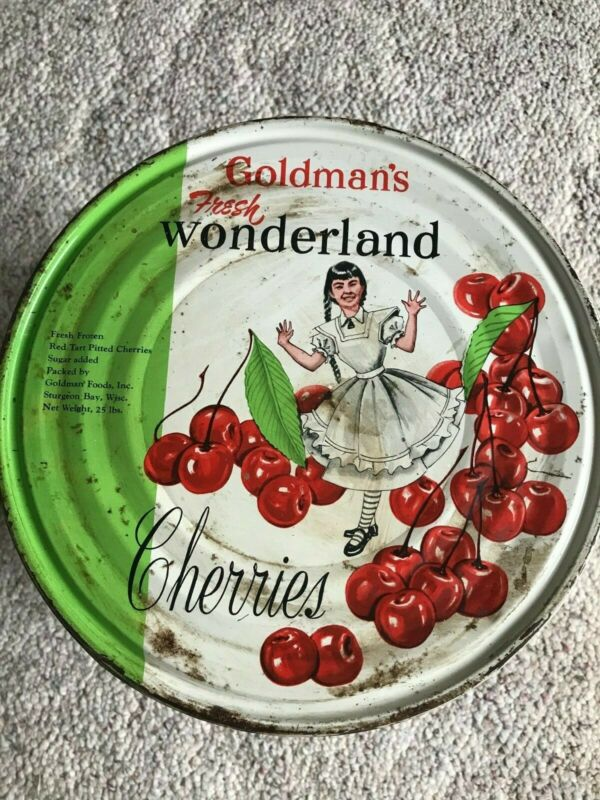 "Vintage Retro 10"" Cherry Tin ""Goldman"