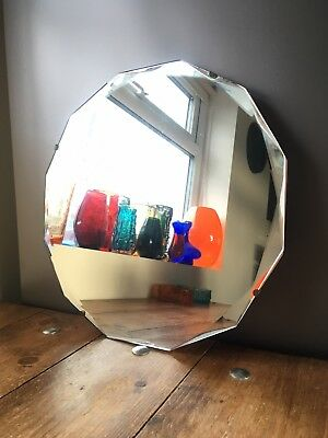 BEAUTIFUL 1930'S ART DECO PERIOD 12 SIDED FACETED MIRROR DODECAGON VINTAGE 1920S