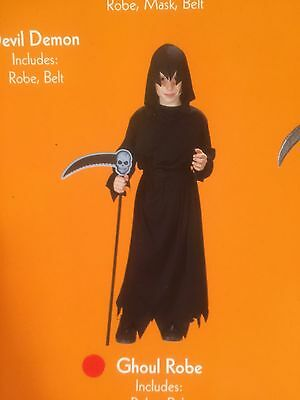 Black Hooded Ghoul Robe Halloween Costume UNisex size child Small 4-6  - Kids Ghoul Costume