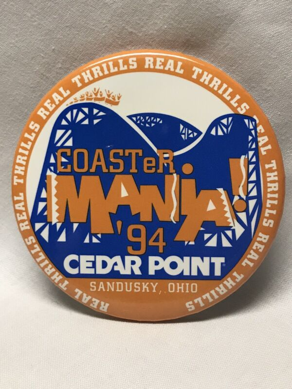 "1994 Coaster Mania Annual 3"" Button Pin Cedar Point Amusement Park Sandusky Ohio"