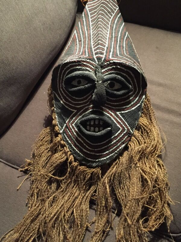 Unique African Burlap Mask With Hemp and Formed Wire