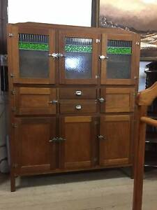 Antique OAK Leadlight Meat Safe Cupboard Kitchen Dresser Cabinet Queenstown Port Adelaide Area Preview