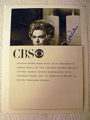 Bea Arthur Star Wars Holiday Special CBS signed Promo 1978 RARE