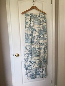 White and blue Antique Early Americana Blackout Drapes