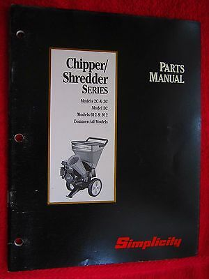 Simplicity Wood Chippershredder 2c 3c 5c 612 912 Commercial Parts Manual