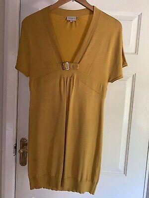 Karen millen Low V-neck Knit Summer Tunic Dress, Mustard Colour, Size 1 / 8 UK