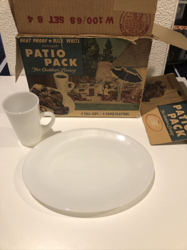 Vintage Anchor Hocking Patio Pack Snack Set Anchor Glass Milk White