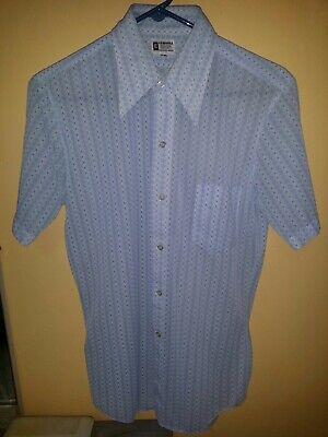 1970s Mens Shirt Styles – Vintage 70s Shirts for Guys  Vintage 1970s Blue White Pattern Short Sleeve Button Polyester Big Collar $20.00 AT vintagedancer.com