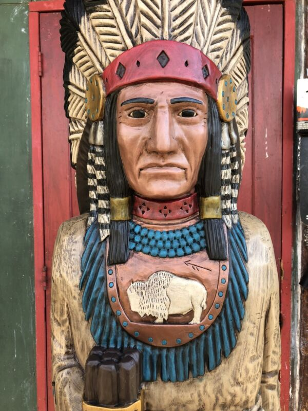 John Gallagher Carved Wooden Cigar Store Indian 5 ft. Statue White Buffalo Knife