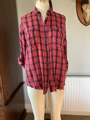 IRO Jeans Red/Navy Check Cotton Shirt Blouse Size M