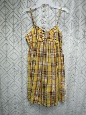 Xhileration Dress Size L Yellow Plaid Straps Back Elastic Band Gathered Front ()