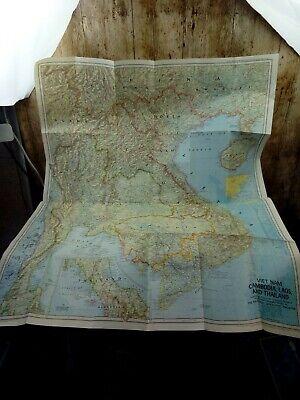 Large Vintage Map - VIETNAM CAMBODIA LAOS THAILAND 1967  - National Geographic