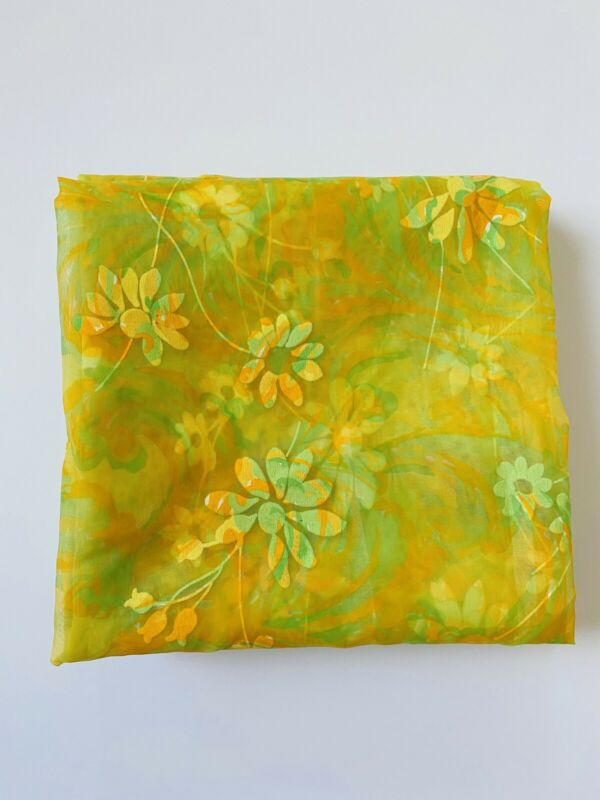Vintage Yellow/orange Floral Flocked Sheer Nylon Curtains